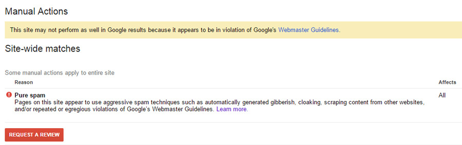 Pure Spam in Google Webmaster Tools