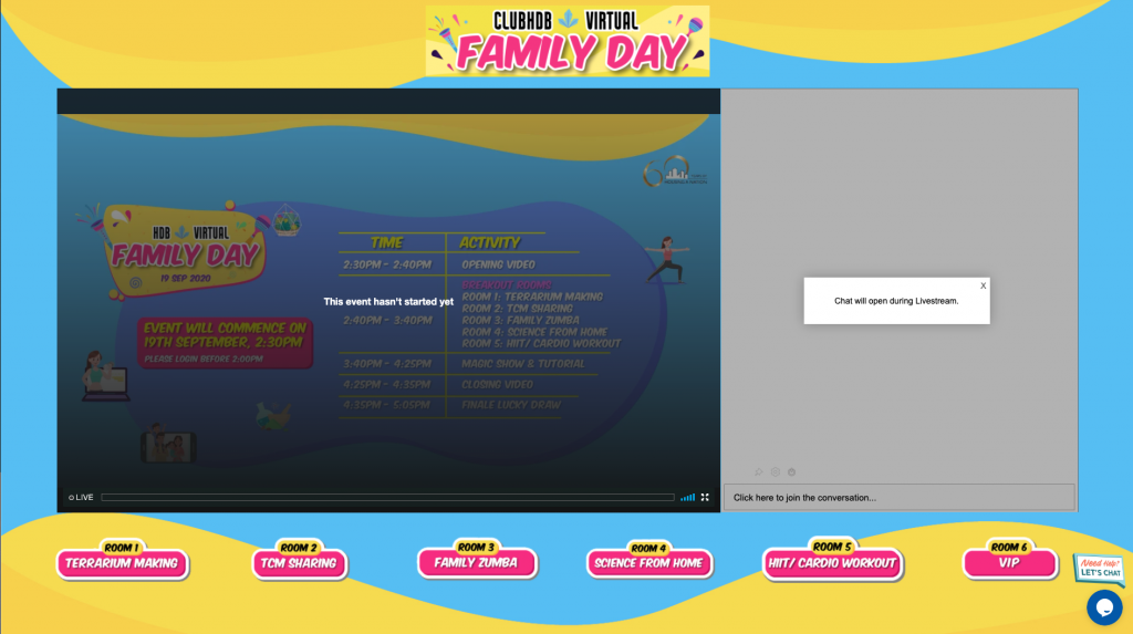 Showcase: Virtual Live Streaming Event Platform for HDB Family Day